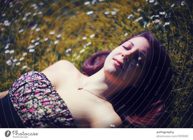 Human being Woman Nature Youth (Young adults) Summer Plant Relaxation Flower Joy Calm Young woman Adults 18 - 30 years Meadow Life Emotions