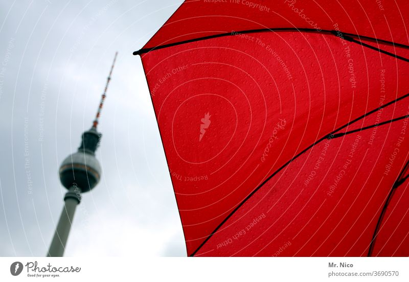 big city City Television tower Sunshade Berlin TV Tower Capital city Sky Landmark Tourist Attraction Architecture Town Downtown Red Umbrella Manmade structures
