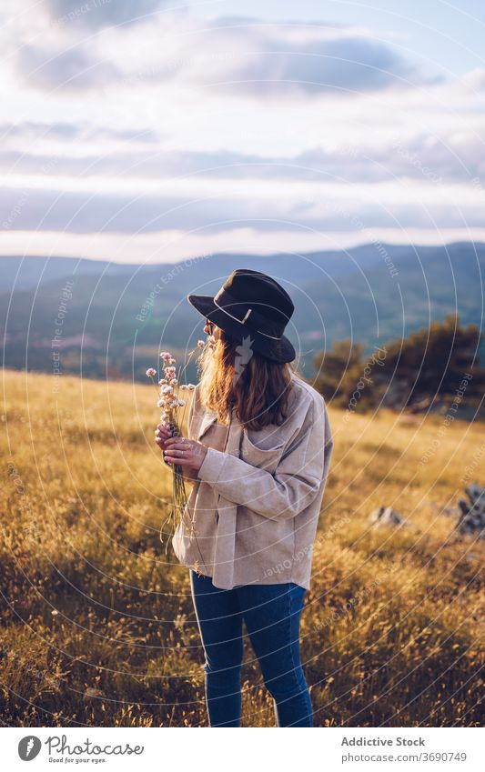 Carefree woman with flowers on hill tender bouquet wildflower mountain sunset blossom highland female sundown majestic landscape autumn dusk tranquil calm