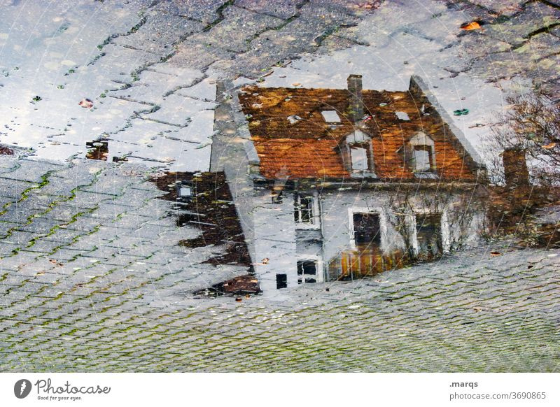 Residential house in puddle Wet Perspective Stone slab Autumn Reflection Puddle Apartment Building House (Residential Structure) Gray dwell