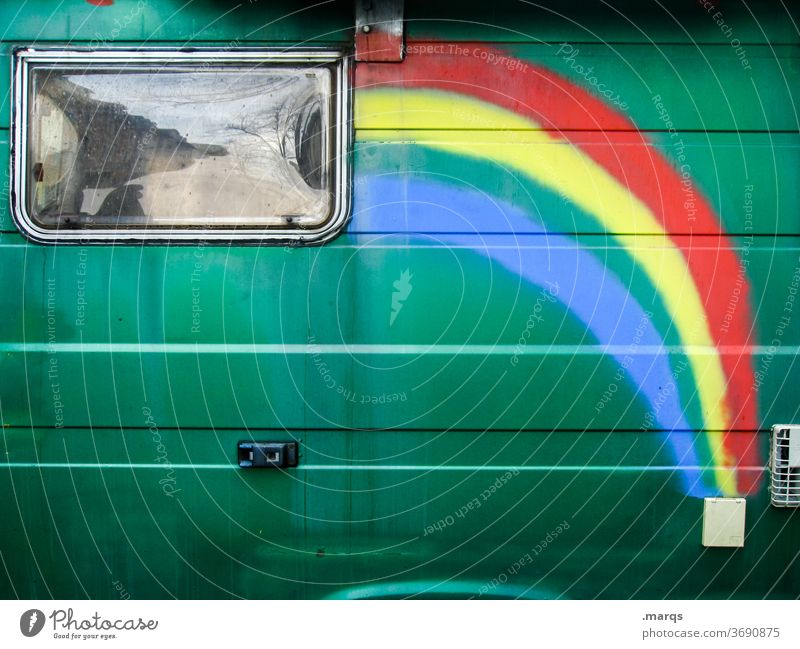 Rainbow caravan Caravan Mobile home Vacation & Travel Camping Leisure and hobbies Freedom Lifestyle Summer vacation Joie de vivre (Vitality) Relaxation Passion