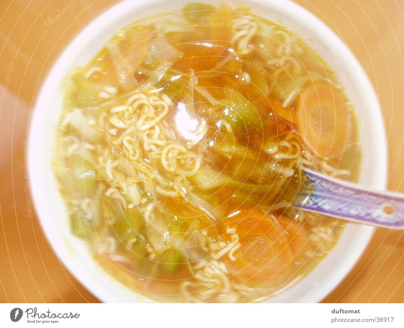 No salt in the soup Soup Noodle soup Chinese Hot China Bird's-eye view Landscape format Caught by a speed camera Overexposure Close-up Nutrition Orange