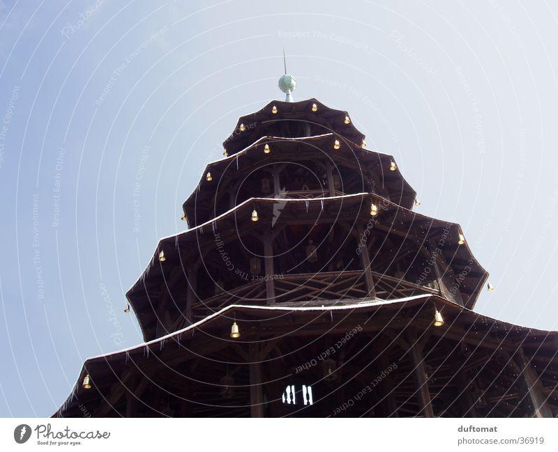 Architecture Munich Story Icicle Bell Bavaria Landscape format Spire Pagoda The Englischer Garten