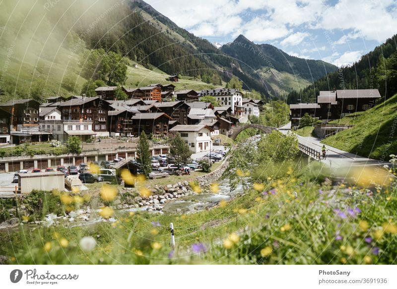 Binntal Landscape Park Swiss Alps Switzerland valais Mountain village Spring Flower meadow Village River Street Canyon Valley