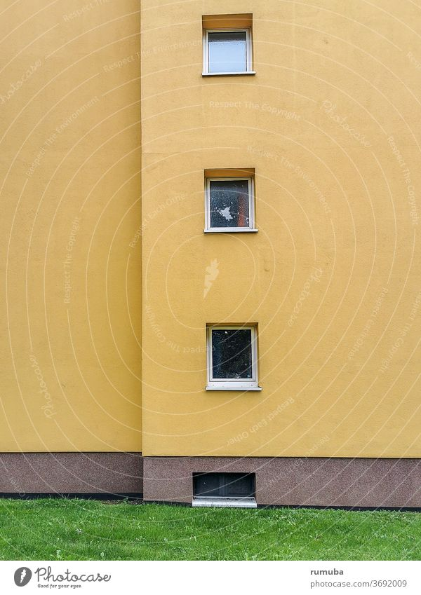 Yellow house wall with windows Wall (building) Wall (barrier) Window Facade built Exterior shot Manmade structures Architecture Closed Gloomy Deserted