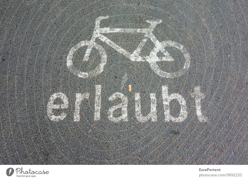 allowed| cycling and smoking Bicycle Cycling Cycle path Permission Characters Letters (alphabet) Asphalt Sign Bans Black White Transport turnaround Movement