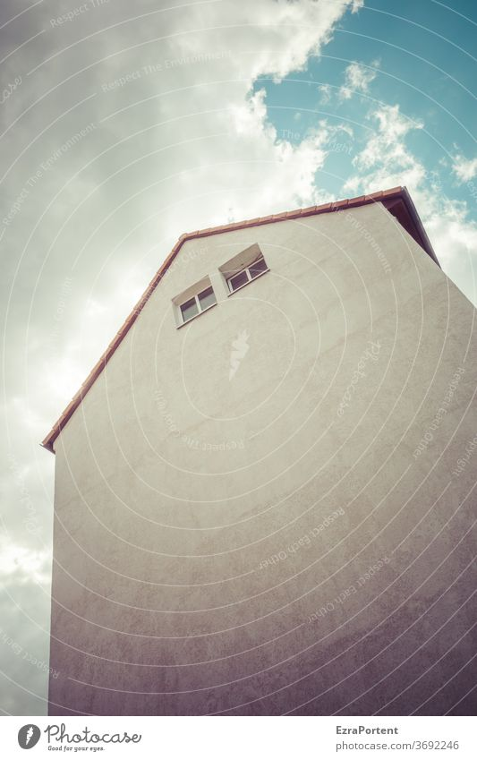 Rapunzel built Architecture Facade Window Wall (building) Sky Clouds Copy Space bottom Deserted Wall (barrier) Manmade structures Gloomy Gray Gable end Upward