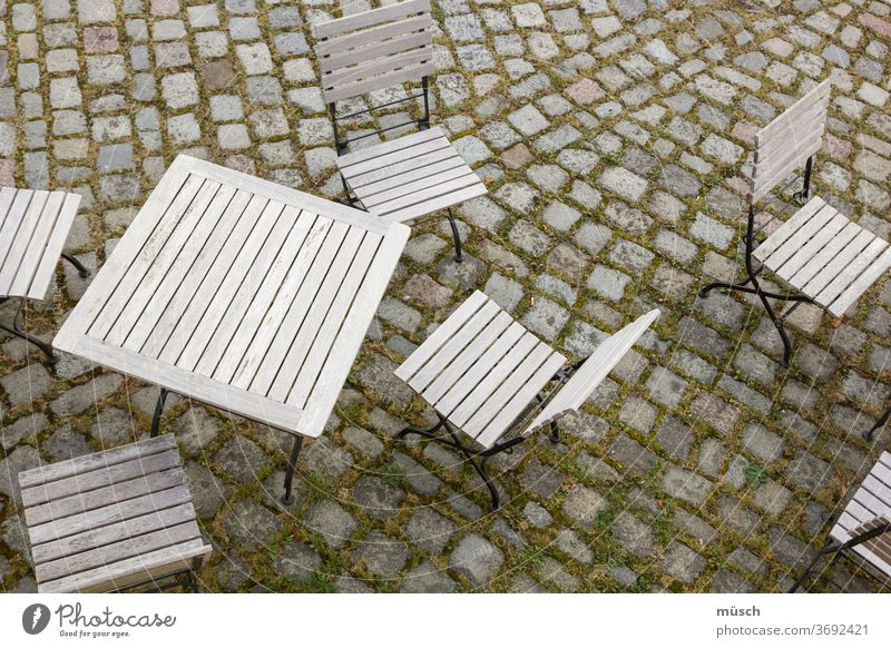 cafe Coffee Table Chair pavement Stone wood Grass Line surface Bistro Crockery guests Economy Sun Family Trip Break Gastronomy Art of Living Sunday