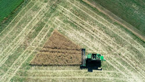 triangle harvest field agriculture combine harvester Field Agriculture Working in the fields Combine Tractor Triangle Harvest Reap Thresh Above