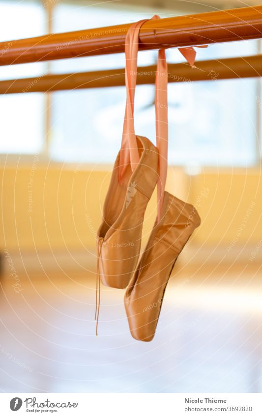Lace shoes - ballet shoes hang from the ballet bar in the dance studio pointe shoe Ballet shoe Dancing shoes Footwear Dance Point Satin Art Classic Ballerina