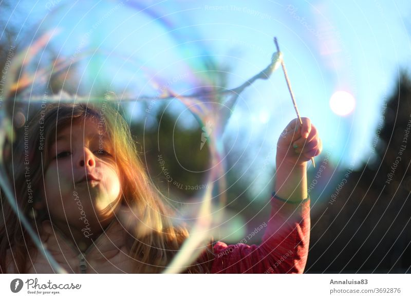 soap bubbles Soap bubble blow Wind Summer vacation Self-made Bubbles girl Child Infancy variegated Water