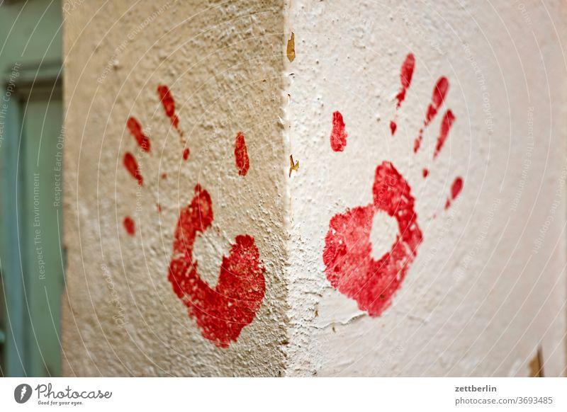 Handprint, right and left biometric data squeeze Lettering Biometry embassy Data Data protection Design DSGVO Colour Fingerprint Graffiti graffiti Grafitto