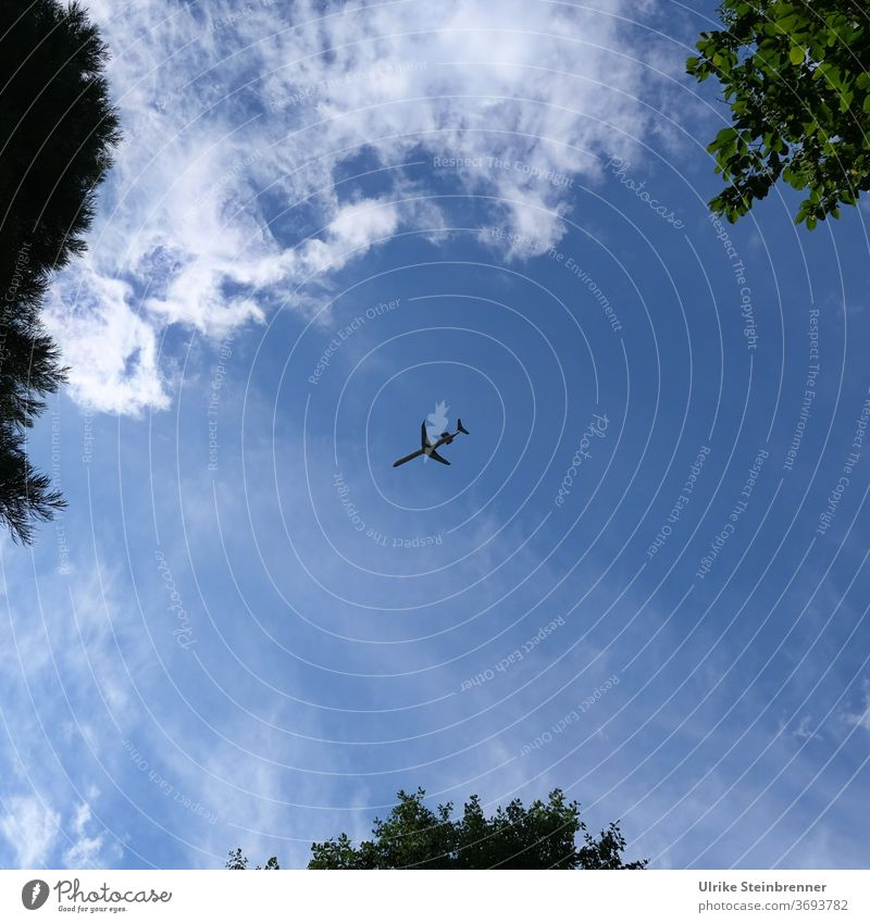aircraft approaching for landing Airplane aviator holiday planes Sky huts Clouds Blue Aircraft Aviation Flying landing approach Flight path Means of transport