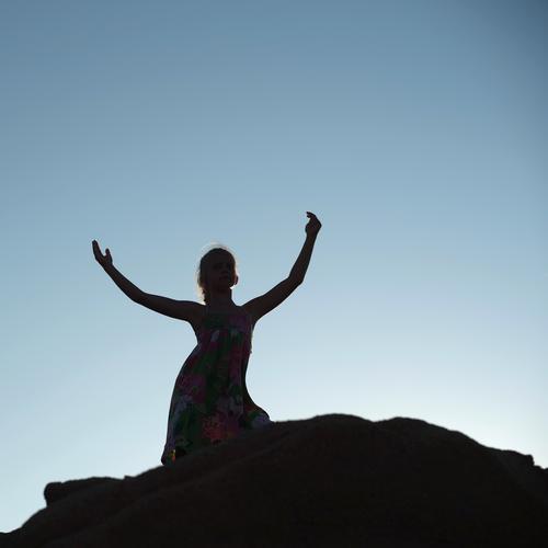 dance Shadow girl Summer mountains Sky Freedom Joy fun luck sleeves hands Head Silhouette Crack & Rip & Tear