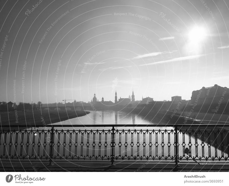 View of Dresden's old town River Black/White Bridge view built clear vision beautiful view Sky somber Gray Exterior shot empty Dresden Old Town