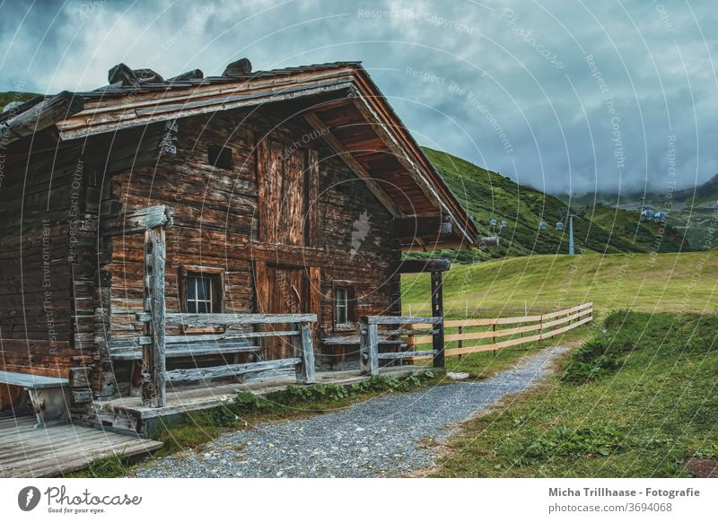 Mountain hut in the Alps Serfaus Fiss-Ladis Austria Federal State of Tyrol Landscape Alpine hut Wooden hut Barn Vacation & Travel Panorama (View) Long shot