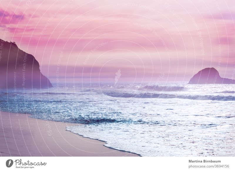 California dreaming, sunset mood on the beach at Mendocino, California dawn vacations landscape water pacific coastline pink purple sky seascape rock sand ocean