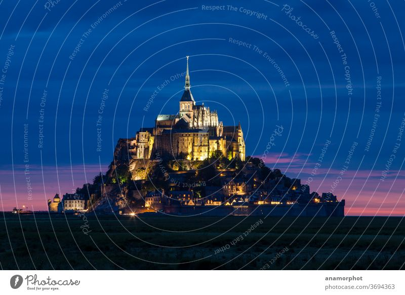 Le Mont St. Michel at night France Brittany Summer Blue vacation voyage holidays experience Sightseeing Exterior shot Tourism Vacation & Travel Church Landscape