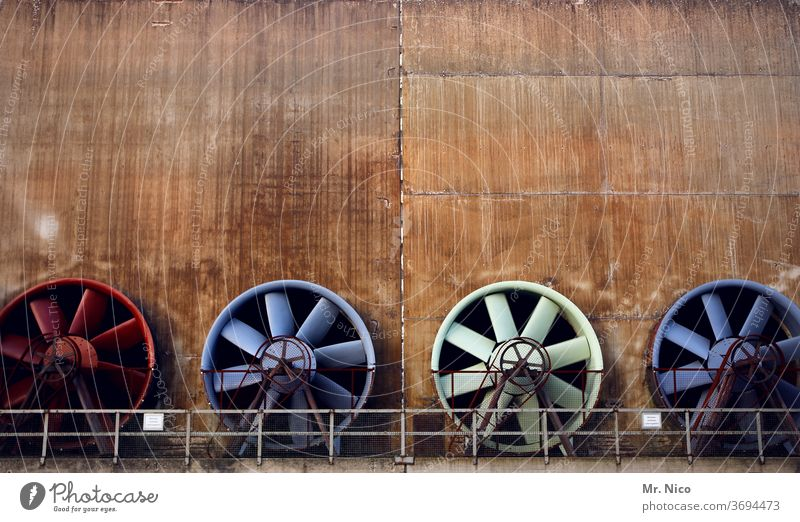 Colour combination I time what turns Fan Fans Air Technology Rotation Ventilation Industry Metal Energy industry Industrial plant Factory rail Propeller