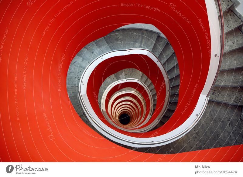red staircase Stairs Downward Spiral Round Architecture Handrail Hollow Meandering Banister built Curve Vertigo Perspective Tall Story Upward Infinity