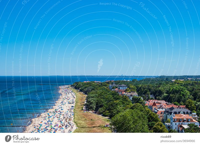 View of the city Kühlungsborn with beach and Baltic Sea Town Coast Baltic coast Ocean Beach Architecture Manmade structures built Tourist Attraction Stage