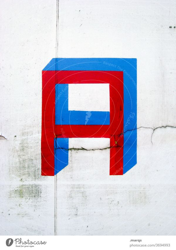 A letter alphabet Blue Red White Typography Characters communication Wall (building)