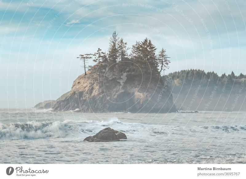 Late afternoon at the misty pacific ocean anda part oif the Californian coastline at Eureka paradise california tourism painterly rocks scenic waves pastel