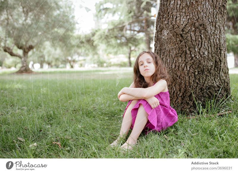 Little girl sitting under tree in park rest nature relax tranquil calm kid summer grass child lifestyle harmony lawn serene adorable season childhood meadow