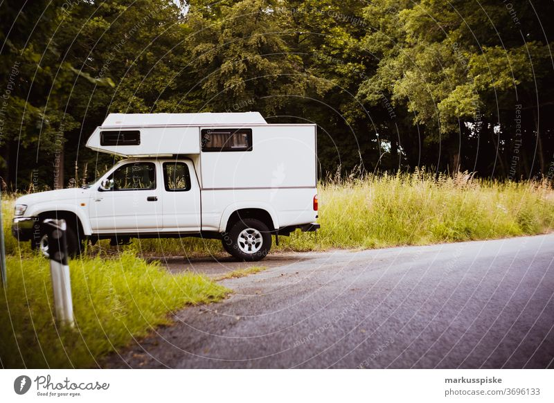 Camping van touring adventure pick up bokeh camp camping discover environment explore forest green natural Outdoor survival tree meadwo road street camping van