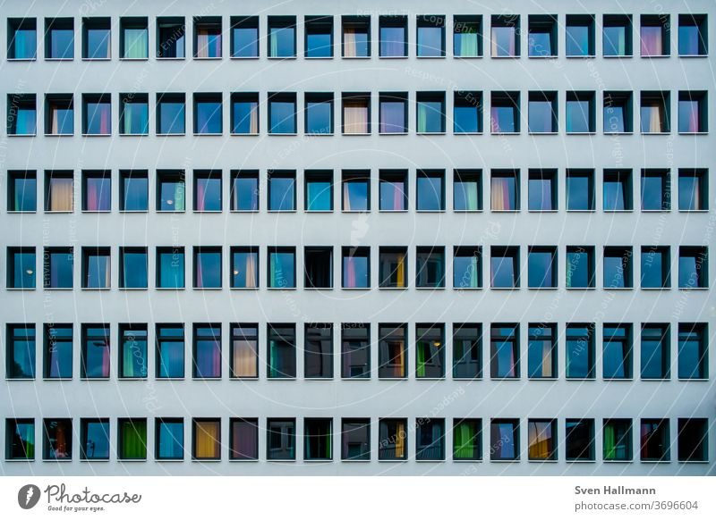 Modern architecture Architecture Facade built Design Light Esthetic Window Reflection Symmetry Minimalistic Elegant Line High-rise Deserted Arrangement Abstract