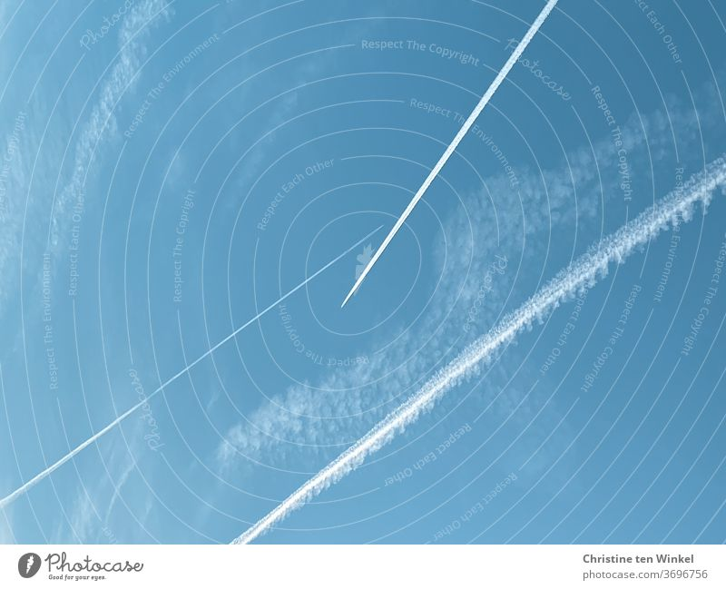 Keep your distance... It's gonna be tight in the sky... contrails... Vapor trail Sky Sky blue Airplane Aviation Vacation & Travel Wanderlust Tourism Flying