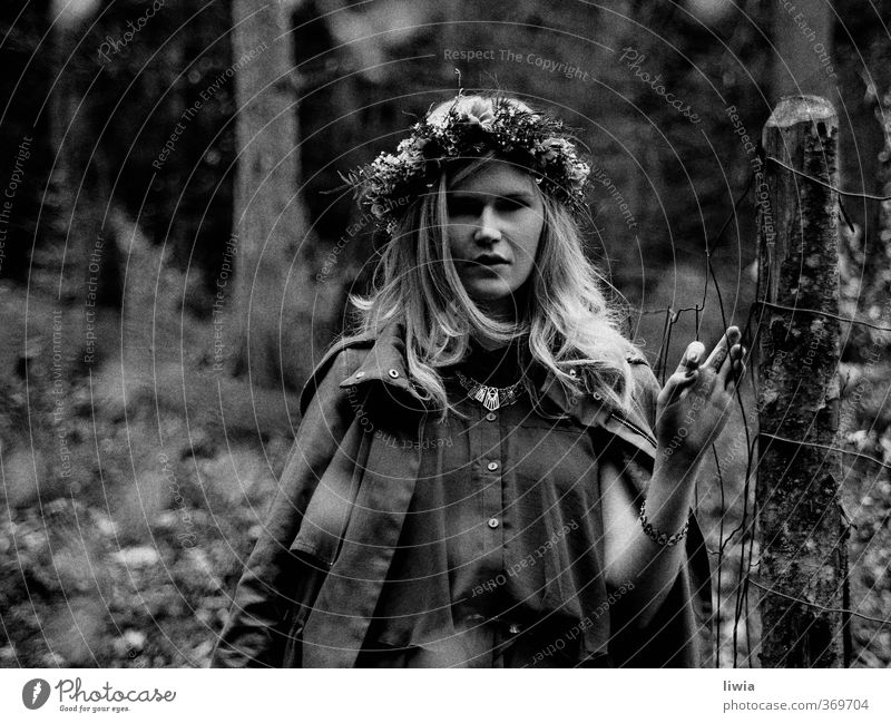 hide and seek Art Nature Landscape Spring Fashion Accessory Jewellery Loneliness Mysterious Power Style Moody Environment Change Black & white photo Girl Forest