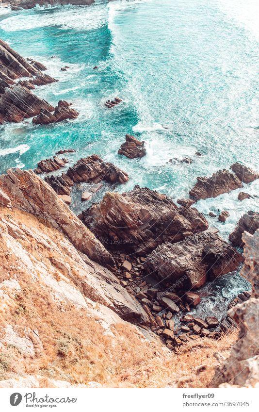 Details of rocks near the sea tide high tide low tide copy space waves landscape seascape loiba galicia cliff cliffs rocky ocean atlantic tourism spain horizon