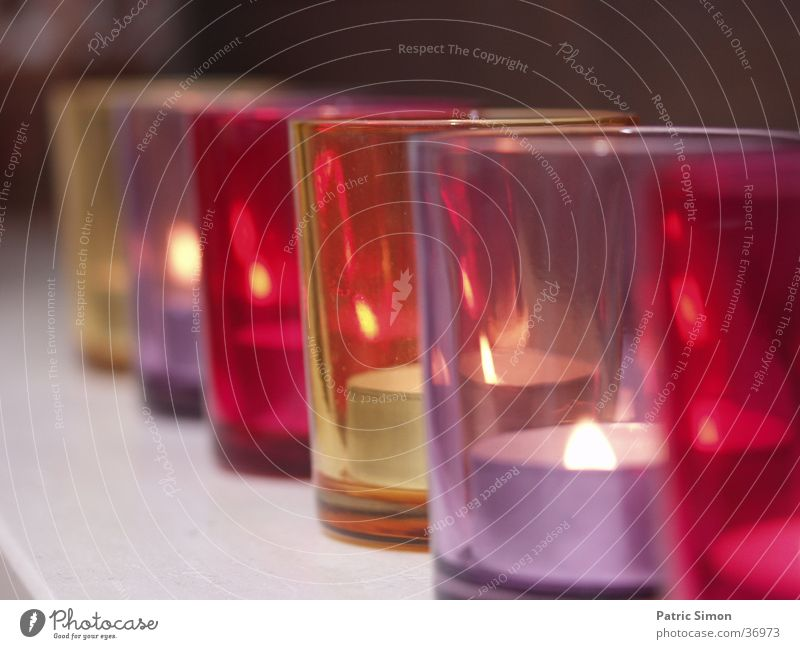 Candle glasses in series Glass Household Romance Violet Red Cozy Candlelight Living or residing Evening
