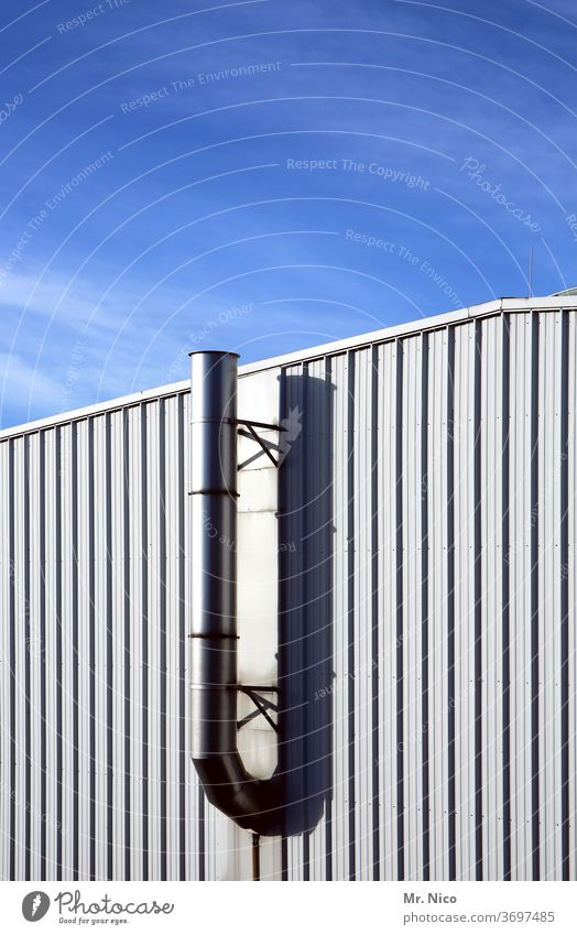 Ventilation pipe at a warehouse Building Industry Industrial plant ventilation pipe Warehouse Facade Sky Cladding Storage Architecture Corrugated sheet iron