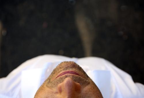 NoseMouthChin Face Lips Head Skin Designer stubble Facial hair Beard hair Stubble Upper body Shirt Cheeks nostrils Man Close-up Lifestyle care Hair bearded