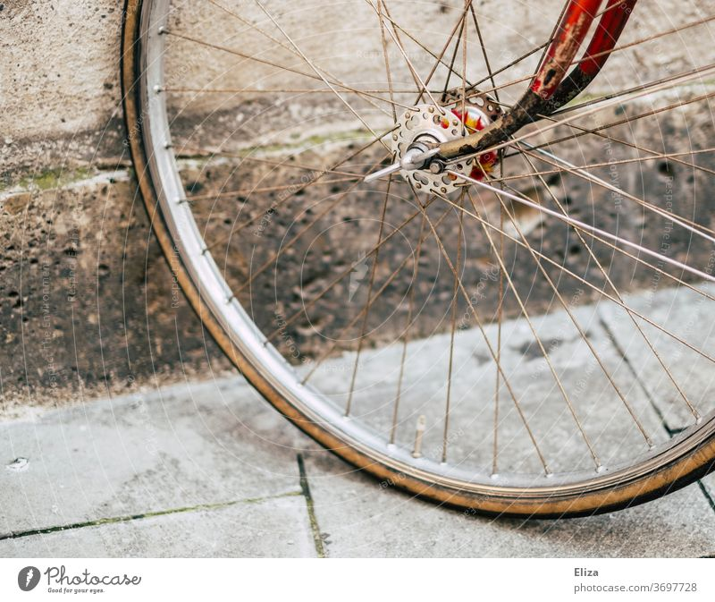 Tires of a vintage road bike Racing cycle detail Wheel Bicycle Retro Red Gold already Hipster Means of transport Bicycle tyre Old Spokes