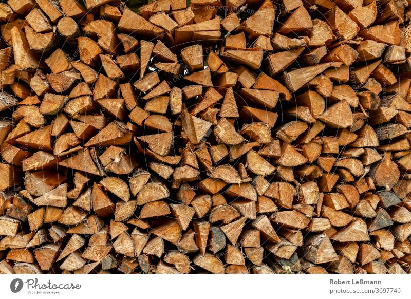 many logs are stacked and can be used as firewood Abstract Autumn background Brown Burn Chop Close-up co2 Copy Space Crushed Cut Detail ecologic Energy