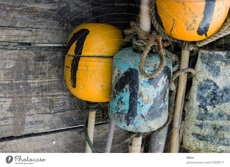 SET DRAWINGS Rope Wood Digits and numbers Old Blue Yellow Fisherman Rod Sign Signs and labeling Colour photo Exterior shot Copy Space left