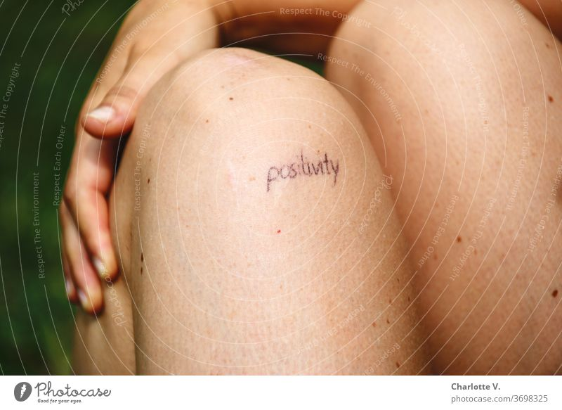 Positivity | with knees and hand Positive think positively encourage sb. everything will be all right case for adjustment Setting Hope Copy Space bottom