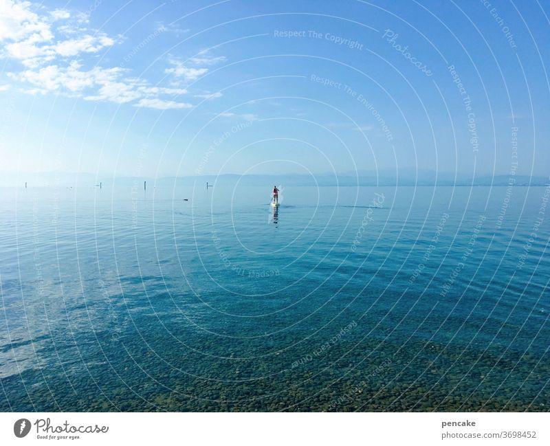 1500 | immer weiter Wasser See blau Himmel SUP Stand-up paddling Landschaft Natur Sommer