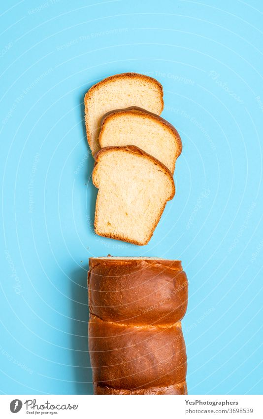Sliced sandwich bread with sourdough. Homemade milk bread. Japanese loaf above view baked bakery baking blue background brioche butter crust cuisine cut out eat
