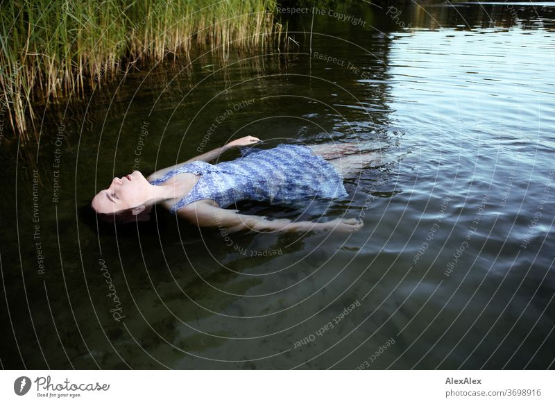 Portrait of a woman floating in a lake in front of a bank with reeds Delicate Light Athletic Feminine empathy Emotions emotionally Looking into the camera