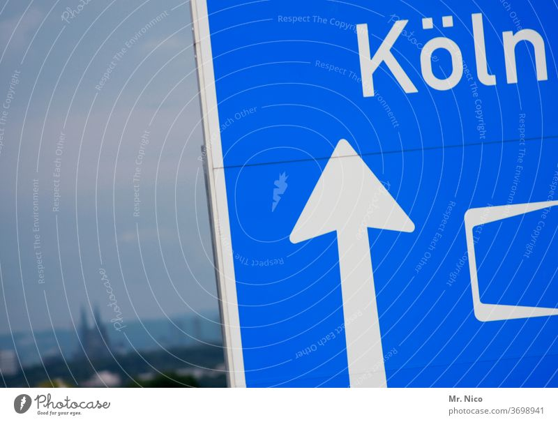 after Cologne always straight on Highway Expressway sign Direction groundbreaking Arrow Signs and labeling Signage Orientation Lanes & trails Navigation