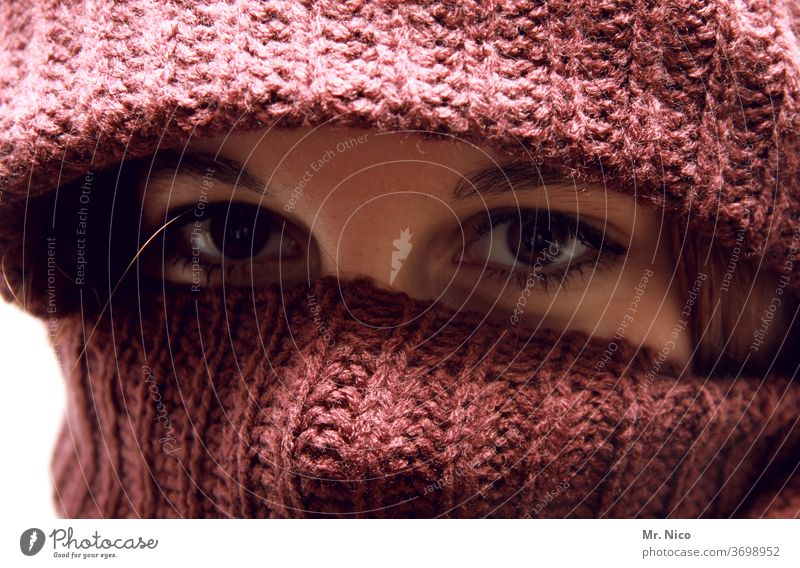 winter fashion Woman Eyes Cloth Looking Gaze Masked Cover Looking into the camera Mysterious Hide Wrap up warm Cap Scarf Protection Winter portrait Face Eyebrow