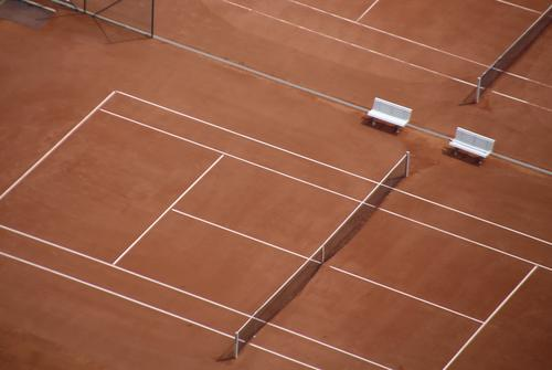 Bird's eye view of tennis courts Tennis court Sports Leisure and hobbies Sporting Complex Net Ball sports bench Playing field Tennis tournament Sand place