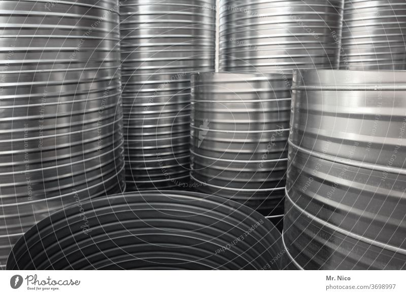 Ventilation pipes conduit reeds Fittings Gray ventilation pipe Tin Structures and shapes Detail Connecting element spiral duct air conditioning Round