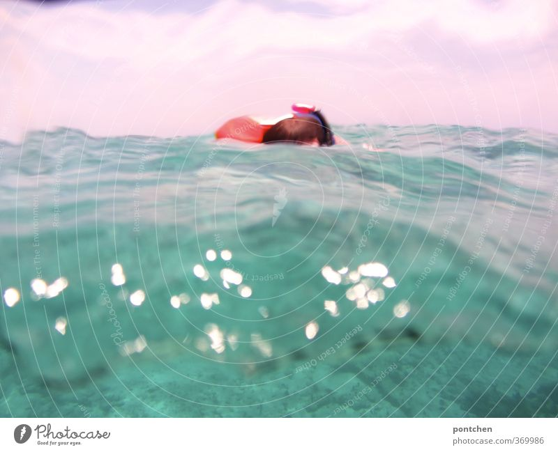 Waves, water. Swimmers in the sea. Joy Leisure and hobbies Snorkeling Vacation & Travel Tourism Adventure Summer Summer vacation Ocean Hair and hairstyles