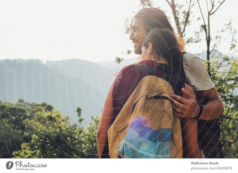 Happy traveling coupe in highlands vacation nature couple mountain enjoy journey tourist together hug sri lanka summer sunny hill relationship tourism love trip