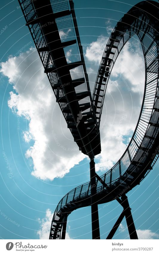 """Tiger and turtle, sequence of the artwork on the """"magic mountain"""" in Duisburg Tiger and Turtle Work of art looping Fantasy symbolic Lanes & trails Curved Stairs"""